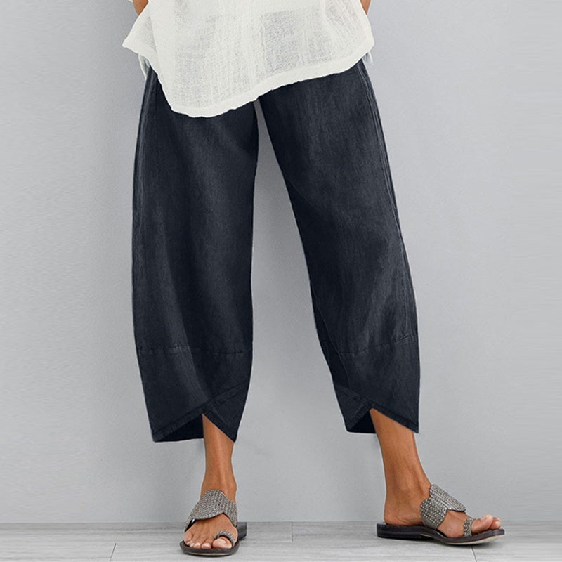 Summer Women Elastic Waist Cotton Loose Long Pants Casual Baggy Trousers Pantalon Femme S-5XL