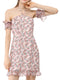 Allegra K Juniors Teen Floral Print Strap Detachable Sleeves Halter Dress