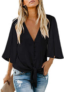 Soluo Women's Tie Front Knot Cute Tops Button Henley Blouse Long Sleeve