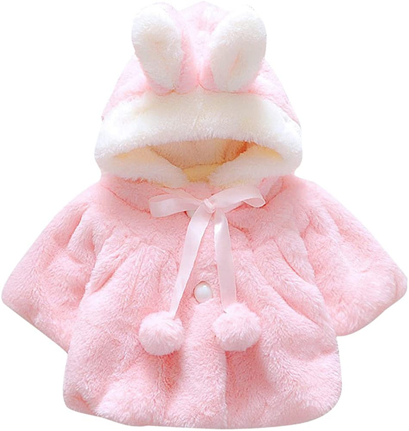 CHIC-CHIC Newborn Infant Baby Girl Faux Fur Warm Winter Hooded Cape Cloak Hoodie Coat