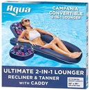 AQUA Campania Ultimate 2 in 1 Recliner & Tanner Pool Lounger with Adjustable Backrest and Caddy