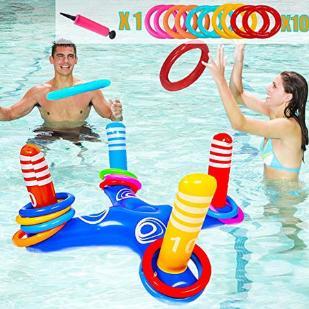 NEEDOON Inflatable Ring Toss Pool Toys Set Swimming Pool Toys for Adults Kids