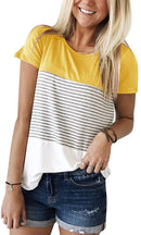 YunJey Round Neck Triple Color Block Stripe T-Shirt