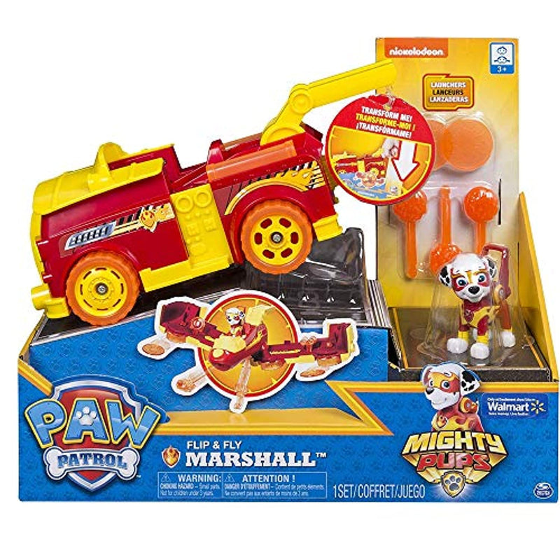 Paw Patrol 6055192 Mighty Pups Flip & Fly Marshall, Red