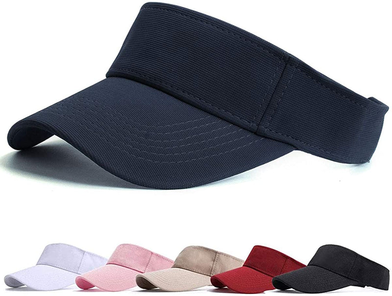 BLURBE Sun Visor Cap - Women Ponytail Baseball Cap, Washed Outdoor Trucker Hat Plain Dad Cap, Adjustable Twill Golf Tennis Visor Hats for Men (Washed-Navy)