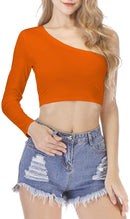 Women's One Shoulder Long Sleeve Crop Tops Casual Plain T-Shirt