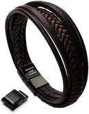 Murtoo Multi-Layered Bracelet Braided Leather Bracelet Genuine Leather Bracelet For Men
