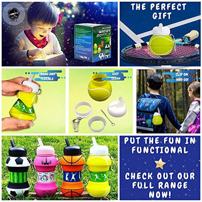 AToZ Essentials UK Kids Water Bottle - Sports Gifts For Boys and Girls - Collapsible Silicone Kids Drinks Bottle