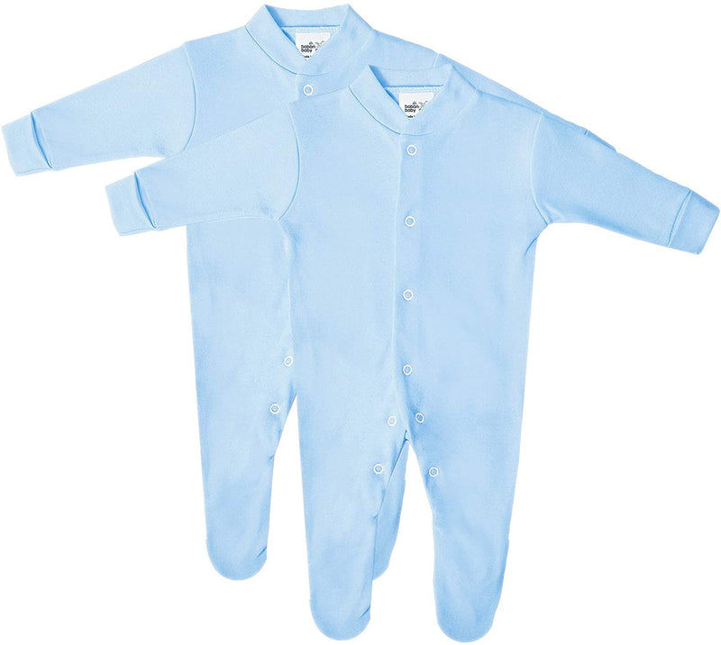 Baby Cotton Sleepsuits, All in One, British Made for Boys or Girls, 2 Pack