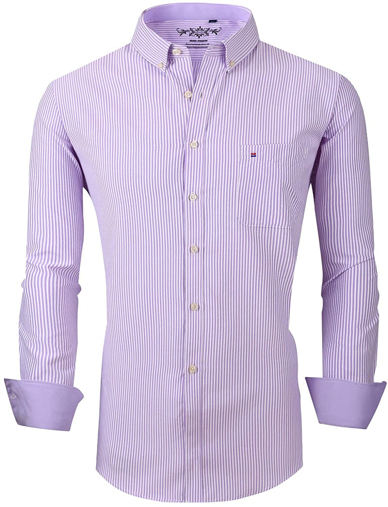XTAPAN Men's Slim Fit Vertical Striped Button Down Shirt