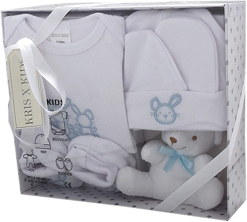 Baby Gift Set - 5 Piece, 100% Cotton, Bodysuit, Booties, Hat, Baby Toy, Girls, Boys - 0-3 Months