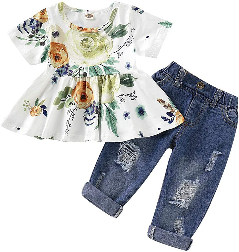 CARETOO Girls Clothes Outfits, Cute Baby Girl Floral Flower Ruffle Top