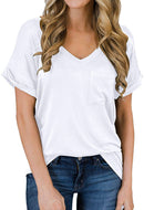 MIHOLL Women's Short Sleeve V-Neck Loose Casual T-Shirt
