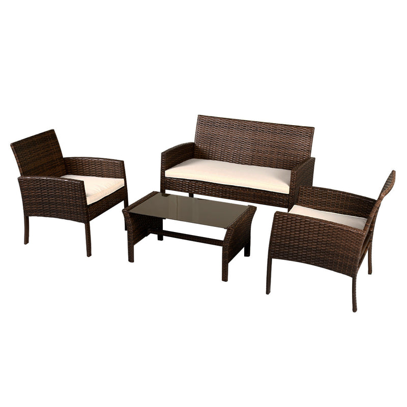 Goplus Conversation Set- 4 Piece Wicker Rattan with Cushions