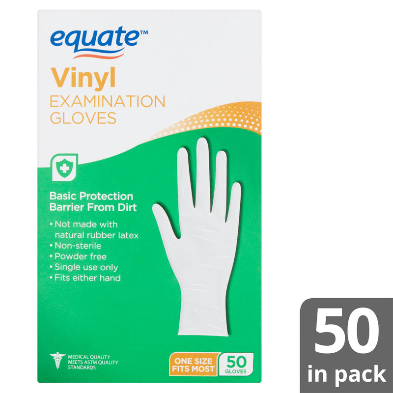 Equate Vinyl Examination Gloves, 50 count