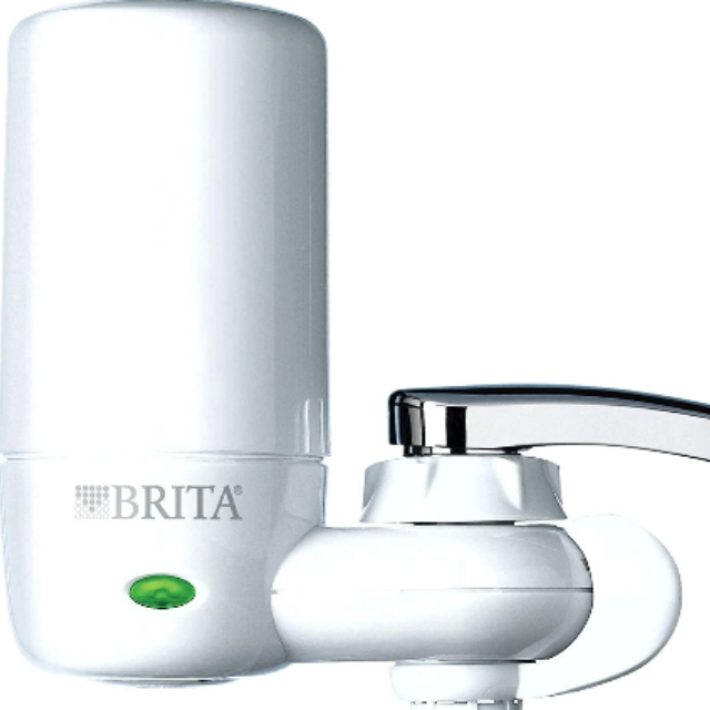 Brita Tap Water Filter System, Water Faucet Filtration System with Filter Change Reminder