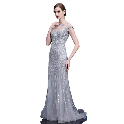 Lazacos Sparkly Beaded Tulle Mermaid Celebrity Prom Dresses