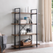 BELLEZE Industrial Bookshelf Open Wide Office Etagere Book Shelf Wood And Metal Bookcases