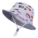 LANGZHEN Sun Protection Hat for Kids Toddler Boys Girls Wide Brim Summer Play Hat Cotton Baby Bucket Hat with Chin Strap