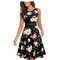 HOMEYEE Women's Vintage 50's Sleeveless Floral Embroidered Cocktail Swing Dress