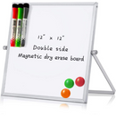 "MerLerner 10"" X 10"" Small Magnetic Adjustable Dry Erase White Board"