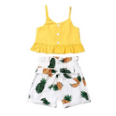 Toddler Girl Sunflower Outfits Kids Halter Ruffle Vest Crop Tops + Floral Wide Leg Pants