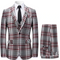 Mens 3 Piece Suit Check Plaid Slim fit Blazer Jacket