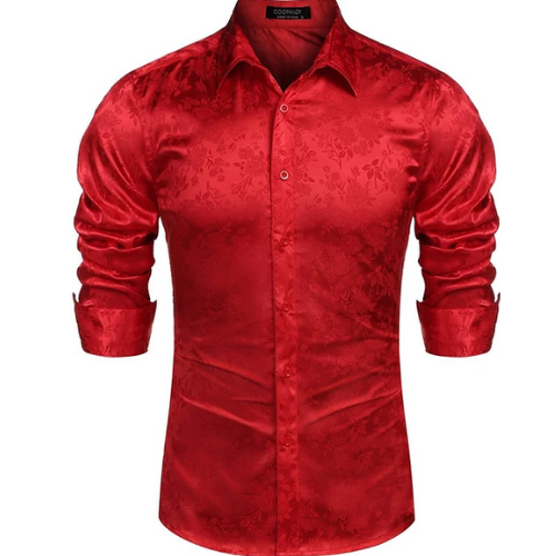 COOFANDY Mens Floral Rose Printed Long Sleeve Shirts