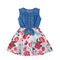 Enlifety Girls One-Piece Sleeveless Denim Tops & Floral Print Tutu Skirts