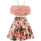 Ruffle Layered Crop top and Flower Skirt For Girls