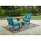 Mainstays Forest Hills 3pc Outdoor Metal Chat Set, Blue Cushions