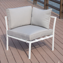 Outsunny 4 Piece Outdoor Furniture Patio Conversation Seating Set - White/ Grey