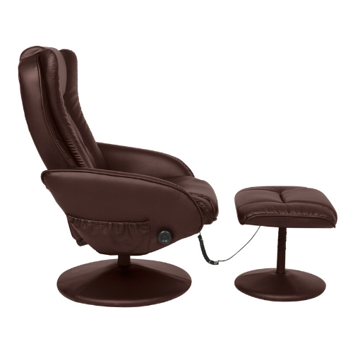 Best Choice Products Faux Leather Electric Massage Recliner Chair w/ Stool Ottoman, Remote Control, 5 Modes - Brown