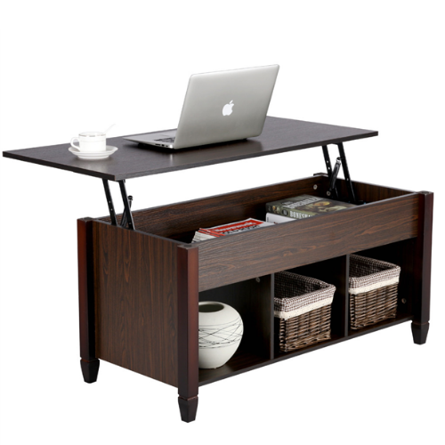 Topeakmart Modern Coffee Table Lift Top Table for Living Room w/ Hidden Compartment and Storage Brown