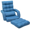 Floor Chair Set with Adjustable Backrest, Folding Chair with Armrests and a Pillow, Lazy Sofa Floor Chair Sofa Lounger Couch for Living Room Bedroom Dorm Office, No Assembly Required, Blue, Q6287