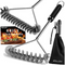 grilljoy 4PC 3-Sided Grill Brush Set with Bag - 17.5-Inch Wire Grill Cleaning Brush and Safe Bristle Free BBQ Brush for Interchange - Exclusive and Perfect Grill Brush for Gas Grill Weber Traeger