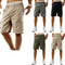 Mens Cargo Shorts Elasticated Waist Casual Cotton Combat Pants