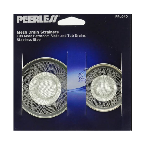 Peerless stainless steel mesh strainer, 2pc. Fits most bathroom sinks and tub drains.
