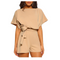Asvivid Women Jumpsuit Set Short Sleeve Round Neck Casual Elegant Belted Play suit