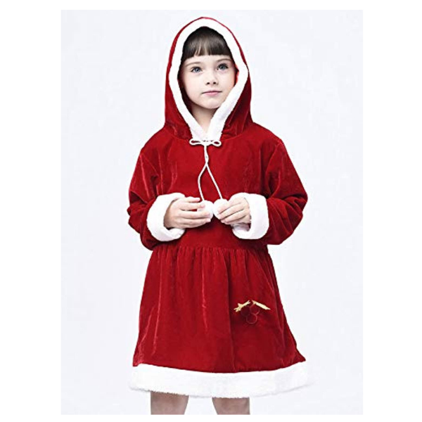 IKALI Girls Santa Dresses with Hat, Christmas Family Pajamas for Kids Xmas Costume