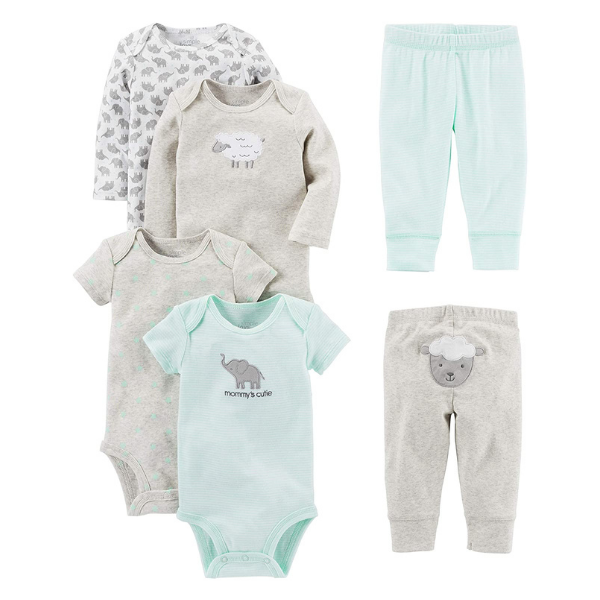 Simple Joys by Carter's Baby 6-Piece Neutral Bodysuits (Short and Long Sleeve) and Leggings Set