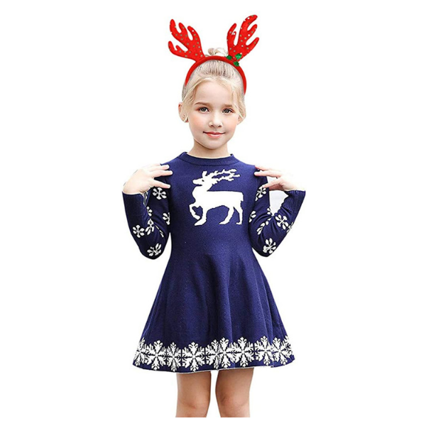 Infant Girls Christmas Deer Snowflake Print Dresses
