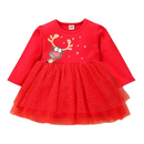 Verve Jelly Toddler Girls Christmas Outfits Baby Deer Print Long Sleeve Dress Tutu Skirt Playwear