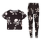 A2Z 4 Kids® Girls Tops Kids Designer's Skull Cross Bones Print Crop Top & Legging Set