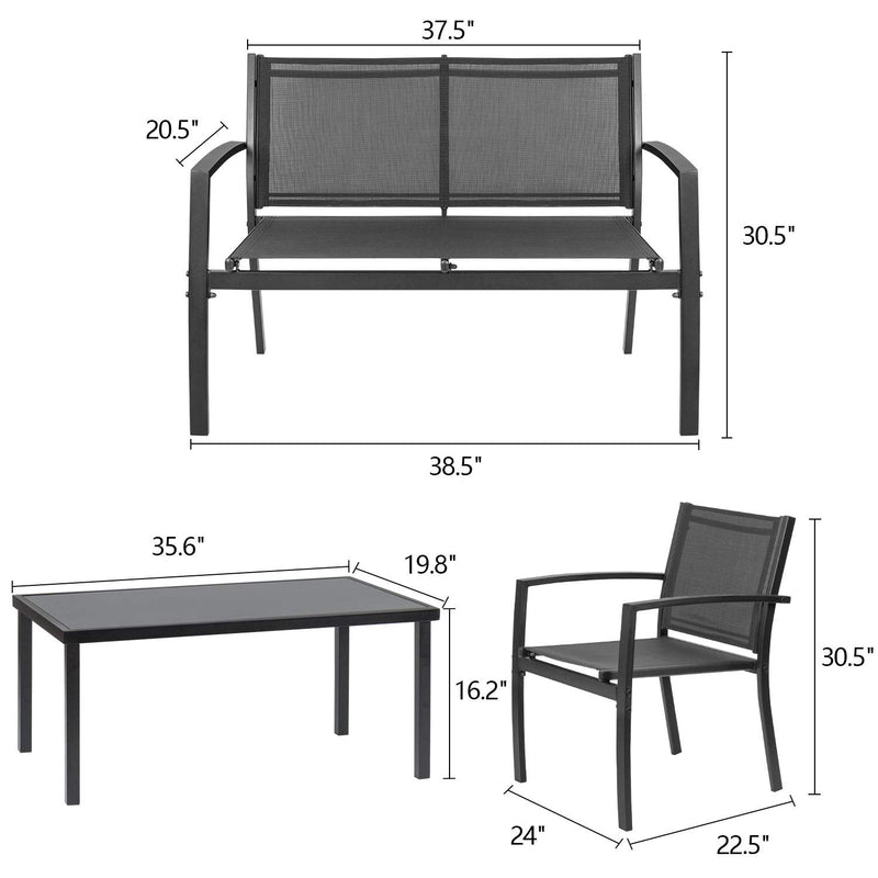 Walnew 4 Pieces Patio Furniture Outdoor furniture Set