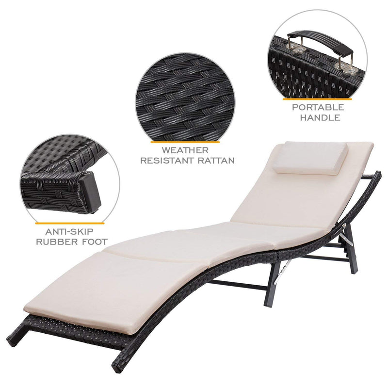 Patio Lounge Chair Adjustable Folding Lawn Poolside Outdoor Furniture