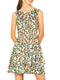 Allegra K Women's Floral Print Sleeveless Smock Layered Ruffle Hem Dress XL White