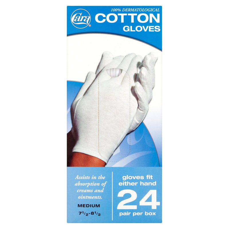 Cara Disposable Cotton Therapy Gloves, 24 Pair - Medium