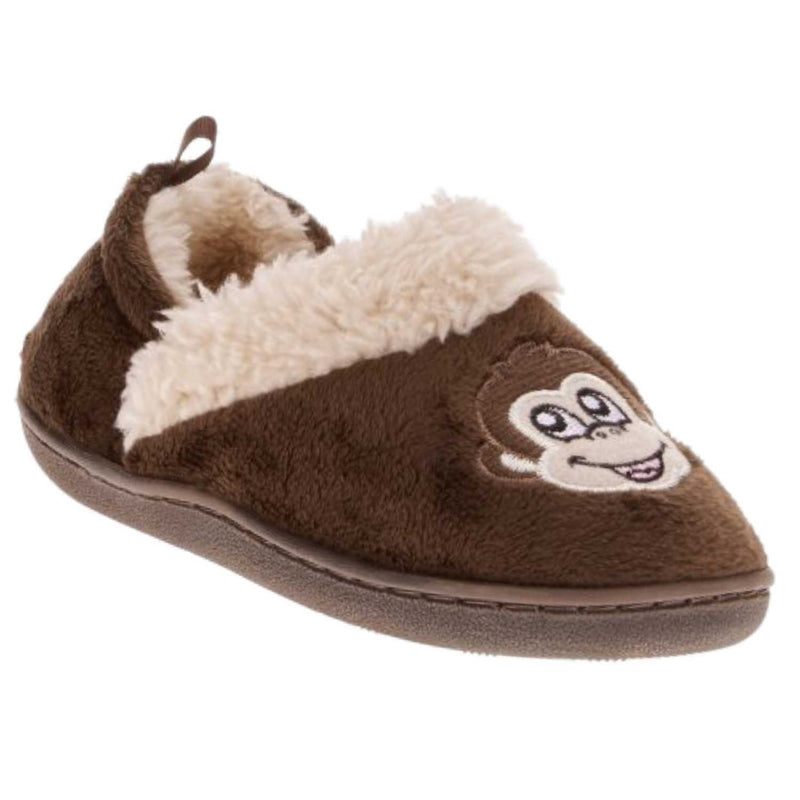 Toddler Boys Brown Monkey Slippers Loafer Style House Shoes