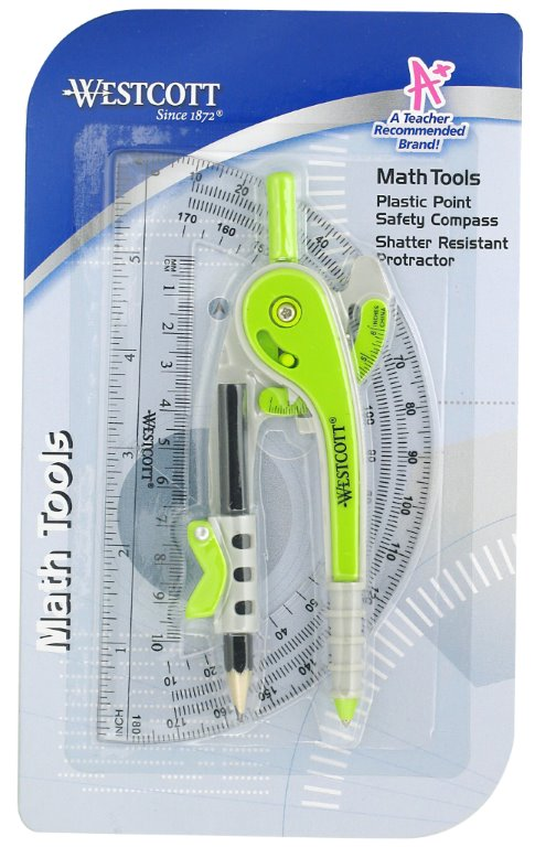 Westcott 2 Piece Compass and Protractor, Math Tools, Assorted Colors